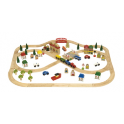 Bigjigs Rail Wooden Town and Country Train Set
